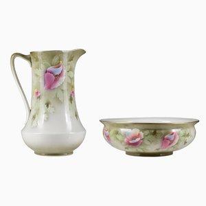 Conjunto de jarra y cuenco francés de cerámica, década de 1900