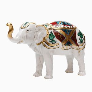Porcelain Elephant Humidor with Lid from Rudolstadt, 1920s