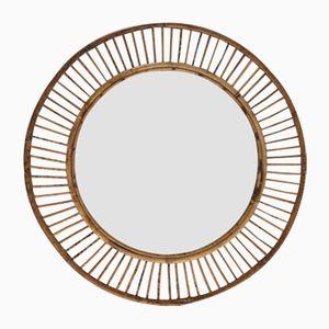 Espejo Mid-Century de bambú, años 60
