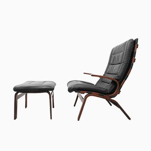 Rosewood and Leather Miljø Lounge Chair & Ottoman from Farstrup Møbler, 1970s
