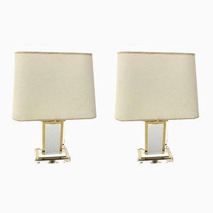 Lámparas de mesa vintage de latón y metacrilato, años 70. Juego de 2