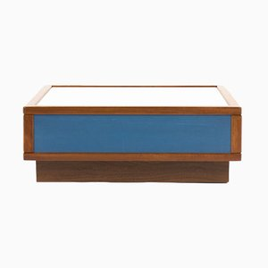 Mahogany Coffee Table with Blue & White Laminate from Sornay, 1960s