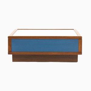 Table Basse en Acajou et Stratifié Bleu et Blanc de Sornay, 1960s