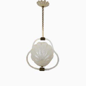 Lampada da soffitto in vetro di Murano di Ercole Barovier, anni '40