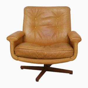 No. 126 Leather Swivel Chair by Sigurd Ressell for Vatne Møbler, 1970s