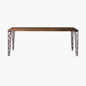 Small Oiled Natural Walnut Fixed Table with Perforated Metal Legs from DALE Italia