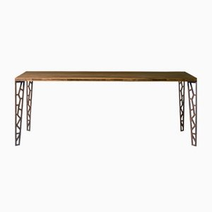Large Oiled Natural Walnut Fixed Table with Perforated Metal Legs from DALE Italia