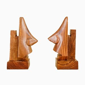 Wooden Nose Bookends, 1930s, Set of 2