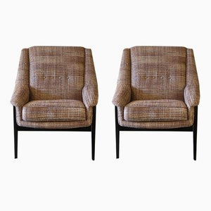 Italian Armchairs in Black Lacquer Wood, 1950s, Set of 2