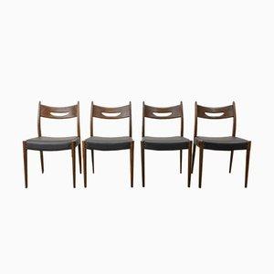 Mid-Century Esszimmerstühle aus Teak & schwarzem Kunstleder, 1960er, 4er Set