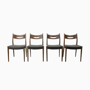 Mid-Century Teak & Black Leatherette Dining Chairs, 1960s, Set of 4