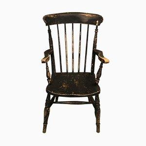 Antiker schwarzer Stuhl aus Ulmenholz
