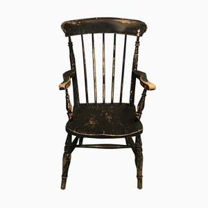 Antique Elm Black Chair