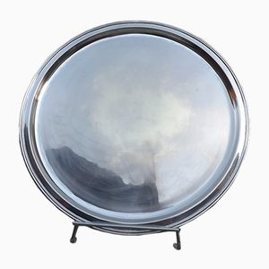 Flacher Vintage Teller aus versilbertem Metall von Flamant Home Interior