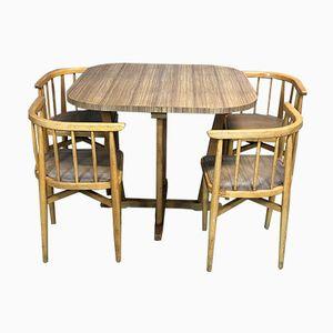 Table et 4 Chaises en Hêtre, 1970s