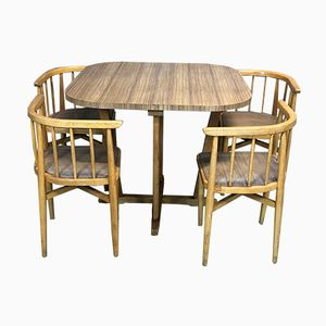 Tisch und 4 Stühle aus Buche, 1970er