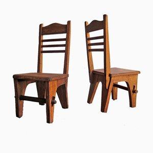 Niedrige rustikale Stühle, 2er Set
