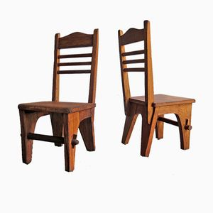 Vintage Rustic Low Chairs, Set of 2