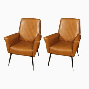 Italian Leatherette Armchairs, 1970s, Set of 2