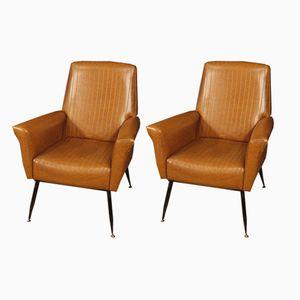 Italienische Sessel aus Kunstleder, 1970er, 2er Set
