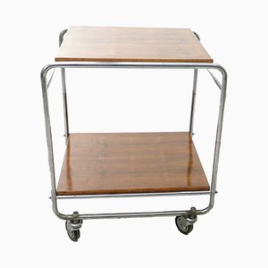 Walnut and Nickel-Plated Metal Serving Cart from Cova, 1940s