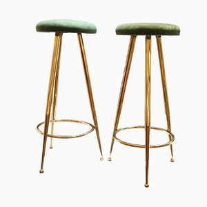 Brass and Velvet Stools, 1950s, set of 2