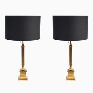 Lámparas de mesa francesas neoclásicas de latón, años 50. Juego de 2