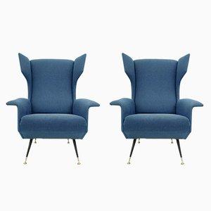 Butacas azules con patas de metal barnizadas, años 50. Juego de 2