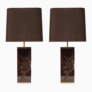 Große Lampen aus Gießharz mit Schirmen von Philippe Cheverny, 1970er, 2er Set