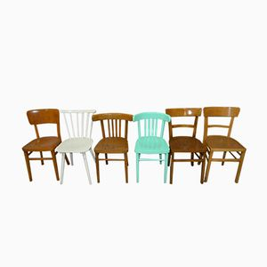 Wooden Kitchen Chairs, 1960s, Set of 6