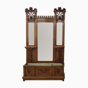 Grand Miroir Art Nouveau Antique en Noyer avec Cache-Pot
