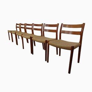Danish Model No. 84 Teak Chairs by Niels O. Möller for J.L. Møller, 1960s, Set of 6