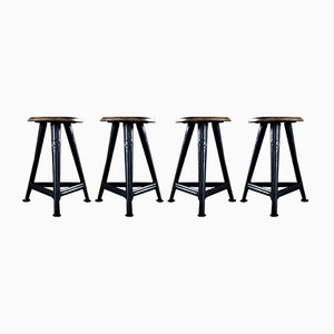 Vintage Workshop Stools from Rowac, Set of 4