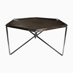 Leather and Metal Hexagonal Coffee Table by Max Sauze for Isocèle, 1970s