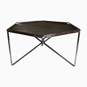 Tavolino da caffè esagonale in pelle e metallo di Max Sauze per Isocèle, anni '70