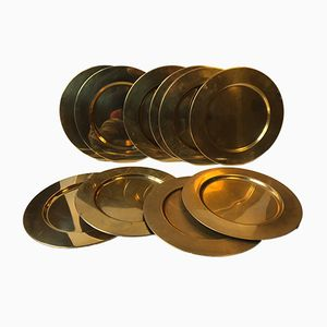 Danish Brass Plates from Boyes, 1970s, Set of 10