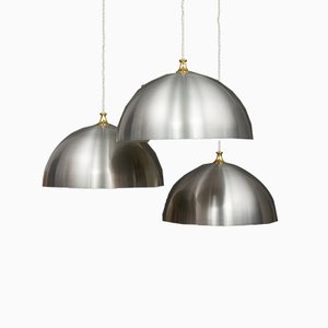 Large Polished Aluminium Ceiling Lamps, 1970s, Set of 3