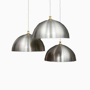 Large Polished Aluminium Ceiling Lamps, 1970s, Set of 3