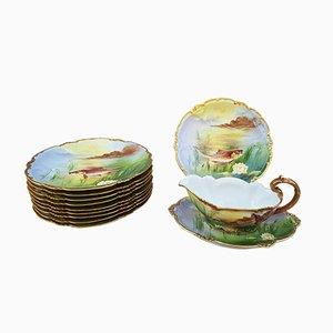 Limoges Porcelain Fish Tableware Set, 1900s