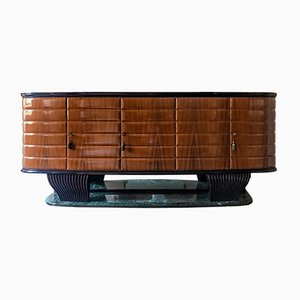 Rosewood Sideboard with Black Opaline Top by Vittorio Dassi, 1950s