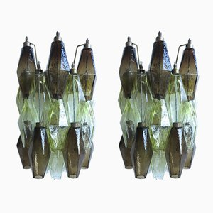Apliques italianos de cristal de Murano amarillos y ahumados, 1977. Juego de 2