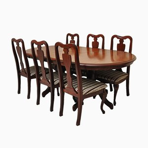 Vintage Mahogany Dining Set with 6 Chairs