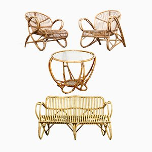 Rattan Living Room Set by Dirk van Sliedrecht for Rohé Noordwolde, 1950s