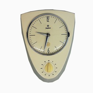 Ceramic Wall Clock with Egg Timer from Junghans, 1950s