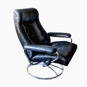 Sedia reclinabile girevole Mid-Century in pelle nera