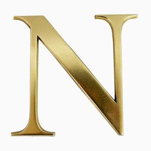 Vintage Brass Letter N