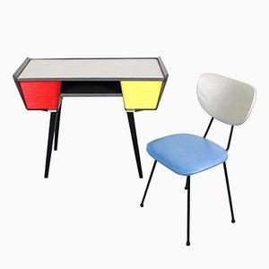 Niederländischer Schreibtisch & Stuhl aus Metall, 1950er