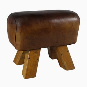 Leather Gym Stool, 1930s