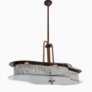 Lampe à Suspension en Laiton & Cuivre, Italie, 1930s