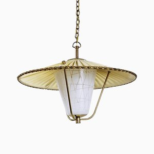 Mid-Century Brass and Opaline Glass Lantern Pendant Light, 1950s